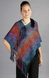 Fringed Poncho - Color: Alpine Glow
