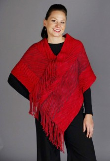 Fringed Poncho - Color: Royal Red