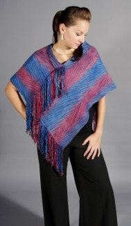 Fringed Poncho - Color: Ruby Marie